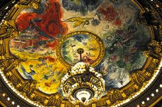 Palais Garnier Opéra de Paris France - Auditorium Ceiling by Marc Chagall with grand chandelier by mbell1975, via Flickr