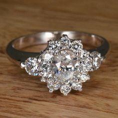 """Handmade Art Deco Diamond """"Flower"""" Engagement Ring (14k White Gold) on Etsy, $1,400.00"""