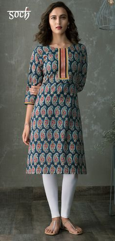 4b4df4db7 Take a more relaxed approach towards fashion wearing this navy blue  coloured kurti by KIA collection