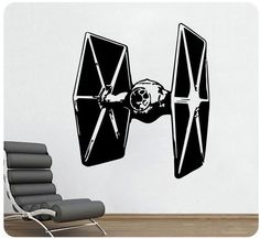 "27"" Star Wars Tie Fighter Wall Decal Sticker Jedi Mural Sci-fi Movie Color Choic #WallPressions #Modern"