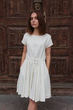 Abigail dress, ivory dress, handmade linen dress,open back dress.