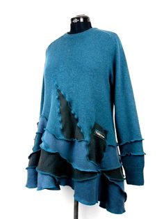 Upcycled Teal and Grey Wool Tunic / Recycled Sweater Tunic Top / Longsleeved Lagenlook Knit Tunic by Tailortrash on Etsy