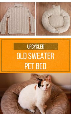 Turn an old sweater into a cozy spot for Fluffy!