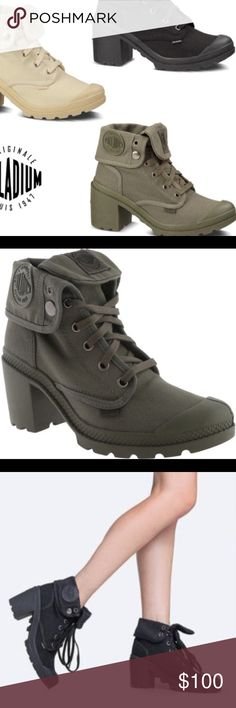 SOLD OUT Army green heeled palladiums Sold out everywhere brand new pair in box! Size 37 true to size!! No trades! Posh only! No try ons Palladium Shoes Heeled Boots