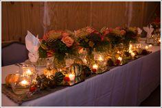 Fall wedding decor, fall flowers, fall indoor reception