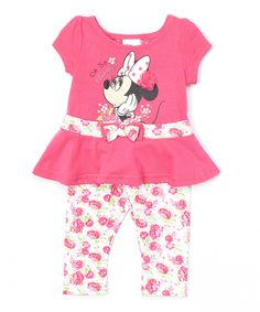 This Pink 'Oh So Minnie' Dress & Floral Leggings - Toddler by Minnie Mouse is perfect! #zulilyfinds