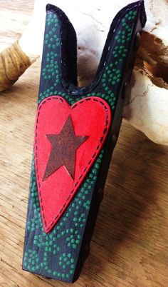 Brightly Painted Boot Jack with Star Heart design by WesternSunset, $50.00