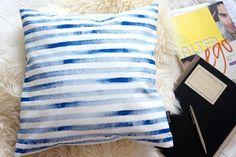Pillow case Stripes blue handmade by POMPOM Blue Stripes, Pillow Cases, Throw Pillows, Handmade, Toss Pillows, Hand Made, Cushions, Decorative Pillows, Decor Pillows