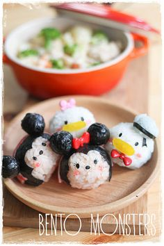 Mickey, Minnie, Donald and Daisy Onigiri