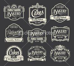 Caligráficos vector conjunto de signo y sello. Elementos de diseño de etiqueta panadería y pastel — Ilustración de stock #46227749