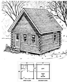 Don't let the simplicity of the Etna fool you. This spacious cabin is ideal for any outdoor adventure free of commotion and stress. A loft provides extra sleeping room. Cabin Plans With Loft, Small Cabin Plans, Small Log Cabin, Cabin House Plans, Cabin Floor Plans, Tiny Cabins, Tiny House Cabin, Tiny House Design, Cabin Homes