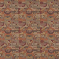 Adobe Burgundy and Coral Geometric Art Pattern Damask Upholstery Fabric