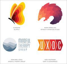 2016年のロゴデザインのトレンド Ombré 「オンブレとはここ数年、海外セレブたちが火付け役となって人気になったオンブレヘアーの美しいグラデーションで、特定の2色間をグラデーションでつなぐデザインです。ロゴデザインではこのグラデーションをベクターベースの面白い形状で色分けして利用しています。」