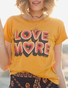 Love more tee **slow-ship** vintage fashion, womens fashion, Vintage Mode, Vintage Ladies, Womens Vintage Tees, Vintage Style, Blusas T Shirts, 1970 Style, Good Vibe, Friend Outfits, Love Shirt