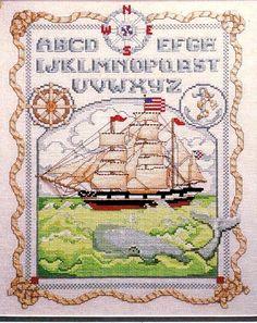 Cross Stitch Pattern Mag Sail Ship Flag Sea ABC Sampler Seaman Knots 1989 CS 043