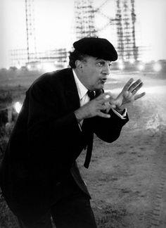 Tazio Secchiaroli Federico Fellini set di 8 e mezzo Roma 1963