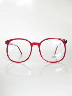 2c4817ac57b9 Red Eyeglasses Vintage 1970s Oversized Sunglasses Round Ladies Womens Huge  Glasses Optical Frames Indie Clear Cherry Bright Hipster Geek 70s
