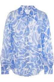Printed crinkled silk-chiffon shirt | Miu Miu| Resort 2015