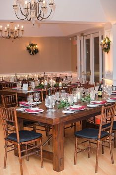 Farm House Tables at Rock Island Lake Club