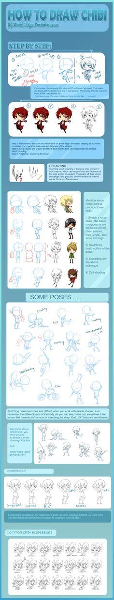 Mega_Chibi_Tutorial_by_MoonlitTiger. How to draw Chibi People, chibi drawing tutorial, reference, pose, Japanese, cute, kawaii, adorable, Chibis , cartoon , how to draw cartoon people