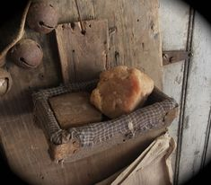 Primitive old wood soap box with early blue worn grungy homespun at Sweet Liberty Homestead new store SLHPRIMITIVES!