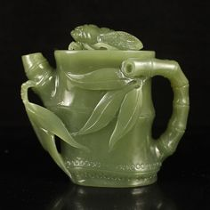Chinese Natural Hetian Jade Teapot Carved Bamboo
