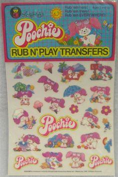 Poochie pink dog transfers - cartoon