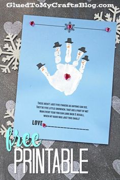 Get a HEAD START on those winter themed crafts by checking out today's Handprint Snowman – Poem Keepsake Printable post! It's the perfect excuse to get messy Christmas Handprint Crafts, Christmas Crafts For Toddlers, Winter Crafts For Kids, Winter Kids, Christmas Activities, Kids Christmas, Holiday Crafts, Snowman Crafts For Preschoolers, Snowman Craft Preschool
