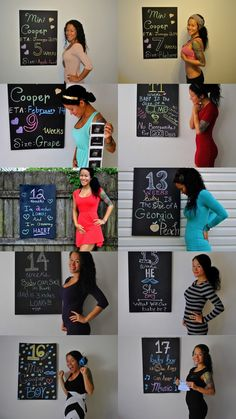 Diary of a Fit Mommy: Weekly Pregnancy Chalkboard Progression Photo Collage! Pregnancy Timeline, Pregnancy Photos, Pregnancy Progress Pictures, Pregnancy Weeks, Pregnancy Announcements, Maternity Pictures, Baby Pictures, Baby Bump Photos, Weekly Pregnancy Chalkboard