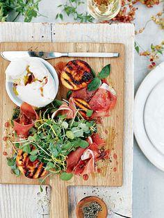 Prosciutto And Caramelised Peach Salad With Buffalo Mozzarella | Donna Hay