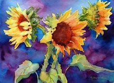 SUNFLOWERS II by Mary Shepard  ~ image size: 16 x 20 unframed
