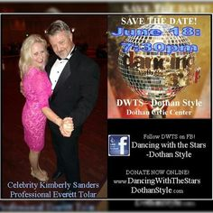 #SaveTheDate!! For June 18!  #Support #DrugPrevention by attending and/ or becoming a #sponsor for the 2016 Dancing with the Stars-Dothan Style! For more info about being a sponsor contact Kimberly Ann or Everett Lamar Tolar :-) Come watch my friends in this fun #DanceCompetition!  To #DonateNow safely with PayPal via the Dancing With The Stars- Dothan Style website choose donate from the menu and scroll down to Kimberly and Everett's link.  #DWTSDS #Fundraiser #Dance
