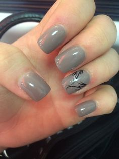 Dark grey nails with black and sparkle design