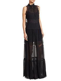 d97118c1669b86 3.1 Phillip Lim - Lace  amp  Stretch Silk Gown Ml Monique Lhuillier
