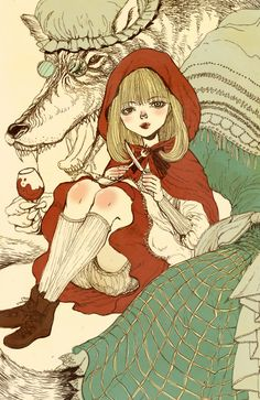 Granny wolf and Red Riding Hood Red Riding Hood Wolf, Little Red Ridding Hood, Illustrations, Illustration Art, Charles Perrault, Psychedelic Drawings, Big Bad Wolf, Fairytale Art, Red Hood