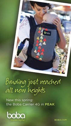PEAK is here!! Boba 4G gray baby carrier with a splash of cheeky (peaky) color! #babywearing #parenting #baby