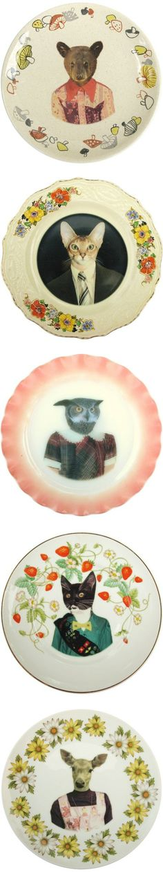 Animals wearing clothes on plates. What the what in a fantastic way