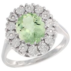 $98.66 USD, Sterling Silver Natural Green Amethyst Ring Oval by WorldJewels