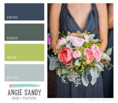 Dusty Blue, Green and Citron Color Palette | Angie Sandy #colorscheme 4.2.14