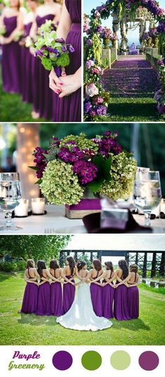 2019 Brides Favorite Purple Wedding Colors---purple and green, wedding centerpieces, wedding bouquets, bridesmaid dresses, spring outdoor weddings Spring Wedding Colors, Spring Theme, Spring Colors, Spring Flowers, Spring Weddings, Wedding Color Schemes, Colour Schemes, Wedding Color Combinations, Wedding Color Palettes