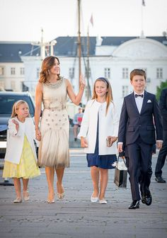 (L-R) Prince Henrik of Denmark, Princess Marie of Denmark, Prince Joachim of Denmark and Princess Athena of Denmark attend the 18th birthd...