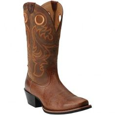 10014025 Ariat Men's Sport SQ Toe Western Boots - Fiddle Brown www.bootbay.com