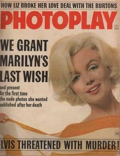 Marilyn Monroe on the cover of Photoplay magazine, February 1963, USA. Photo by Bert Stern.