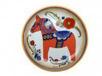 Ceramic Plate Fridge Red Dala Magnet
