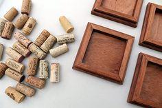 Wine Cork Coasters  Set of 4 DIY reclaimed wood coasters - wine cork crafts