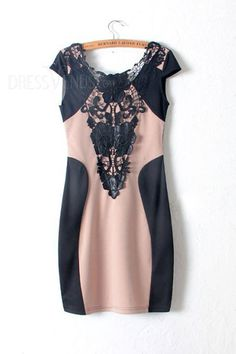 Perfect Leather Patchwork Round Neckline Short Sleeves Lace Dress, Sleeves