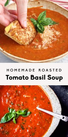 Homemade roasted tomato basil soup with fresh tomatoes garlic olive oil and caramelized onions Delicious flavorful and the best way to use up garden tomatoes Youll never. Best Soup Recipes, Chicken Recipes, Favorite Recipes, Healthy Recipes, Keto Recipes, Vitamix Soup Recipes, Dessert Recipes, Healthy Desserts, Summer Soup Recipes