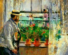 EL MUSEO DE HIPATIA - Eugene Manet on the Islae of Wight - 1875 by Berthe Morisot