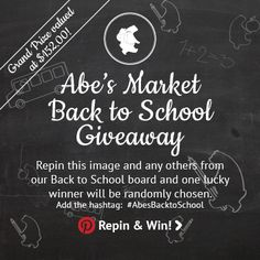 Repin this image to win!  #AbesBacktoSchool