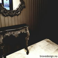 Black is back! Love the combination! Furniture painted in Vintro chalk paint, Victorian Black, and wall in Midnight looks fab! http://www.bravedesign.no/ #painted #furniture #walls #kalkmaling #vegg #møbler #diy #redesign #interior